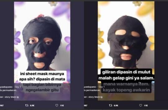 """RECEH! Lebih Mirip Topeng """"AWKARIN"""", Masker GADIS Ini Bikin Netizen Ngakak!"""