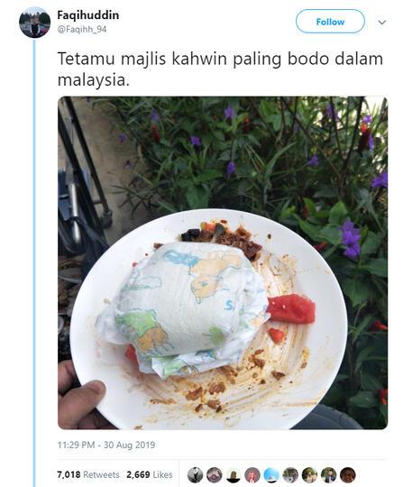 Menjijikan! Tamu Undangan Pernikahan Membuang Popok Bekas Pakai Di Atas Piring Makan.