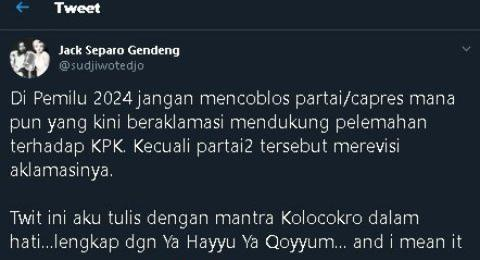 Sujiwo Tejo: Jangan Pilih Pemimpin yang Mau Lemahkan KPK