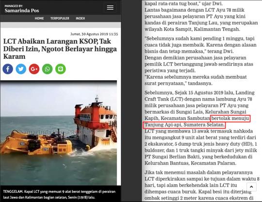 Alat Berat Infrastruktur Calon Ibu Kota Tenggelam di Perairan Sampit?