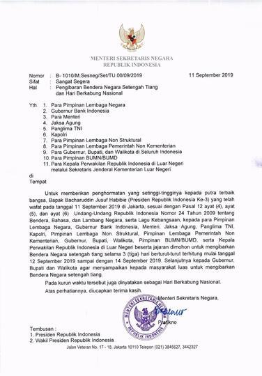 BJ Habibie Meninggal, Pemerintah Serukan Pengibaran Bendera Setengah Tiang 3 Hari