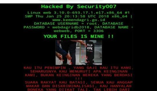 """Diamuk Hacker, Situs Kemendagri Ditulisi """"Kau Hanyalah Boneka"""""""