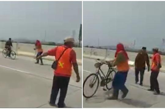 Heboh Video Kakek Bersepeda di Jalan Tol dengan Santuy Melawan Arus! Bahaya Enggak?