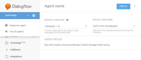 Aplikasi Google Asisten - Dialogflow