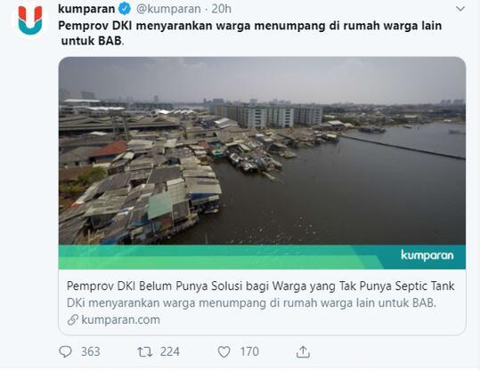 Pemprov DKI menyarankan warga menumpang di rumah warga lain untuk BAB