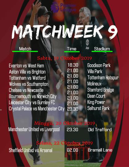 Jadwal Liga Inggris Pekan 9. MU Hadapi Liverpool Tanpa Pogba dan De Gea