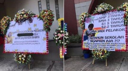 Istri Sah Labrak Pelakor yang Sedang Wisuda S2 dengan Karangan Bunga! Parah Gak Gan?