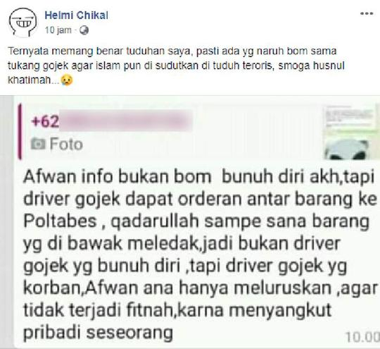 Benarkah Bom yang Meledak di Medan adalah Paket yang Dikirim Melalui Jasa Ojol?