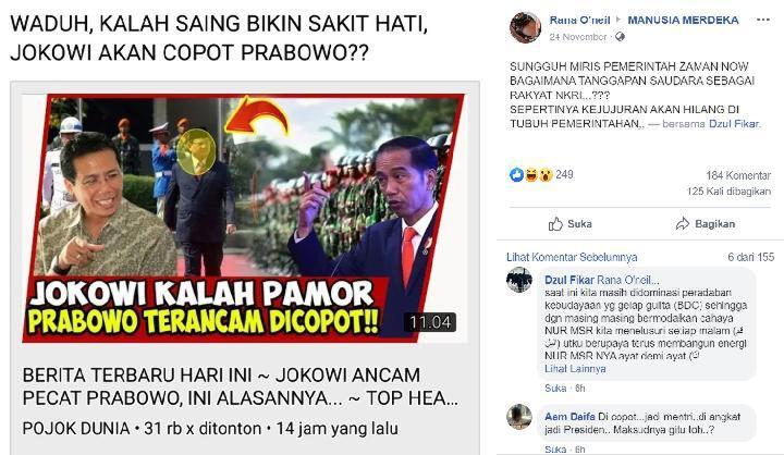 Presiden Jokowi Ancam Copot Menhan Prabowo Karena Kalah Pamor?